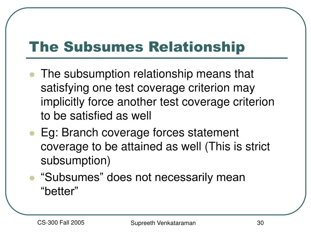 The Subsumes Relationship