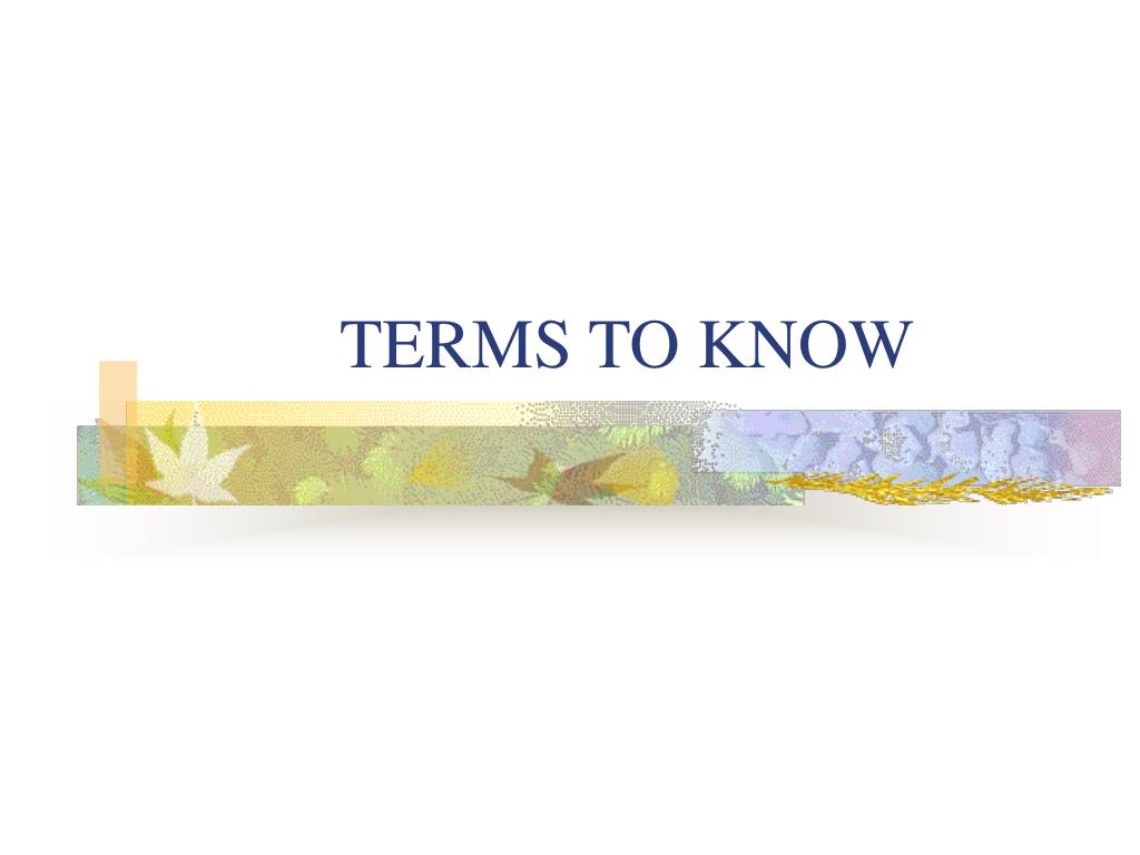 terms to know l.