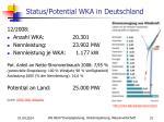 status potential wka in deutschland