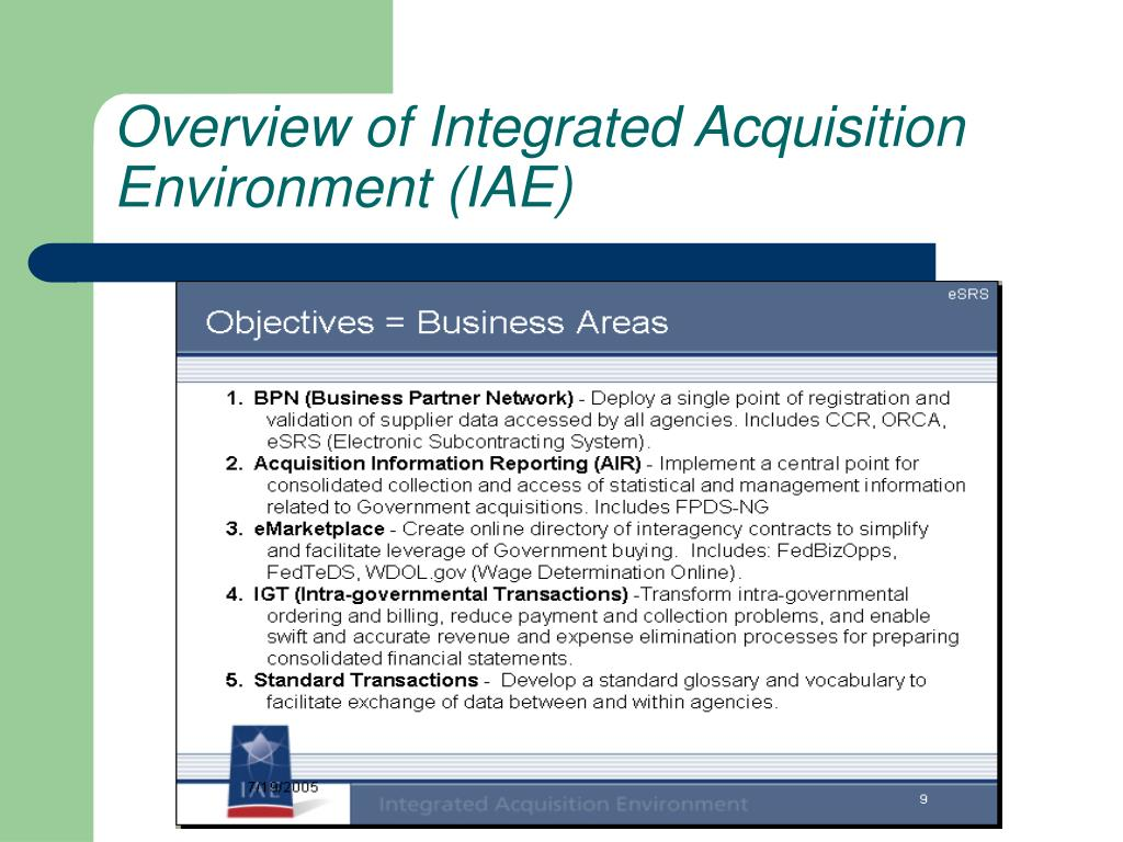 Overview of Integrated Acquisition Environment (IAE)