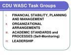 cdu wasc task groups