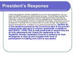 president s response