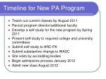 timeline for new pa program