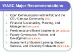 wasc major recommendations