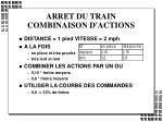arret du train combinaison d actions