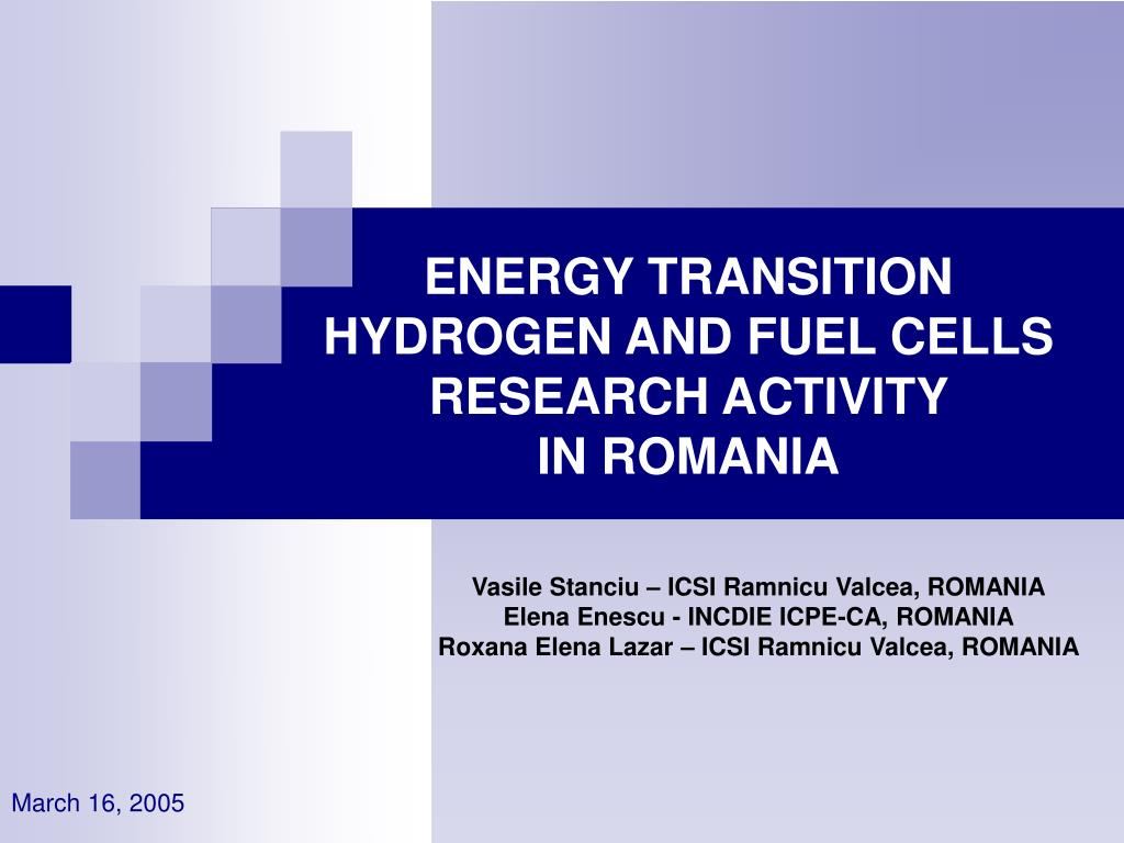 energy transition hydrogen and fuel cells research activity in romania l.