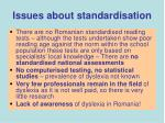 issues about standardisation