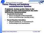 thema planung und gestalung soziotechnischer systeme