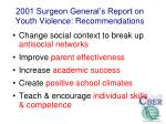 2001 surgeon general s report on youth violence recommendations