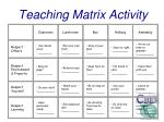 teaching matrix activity
