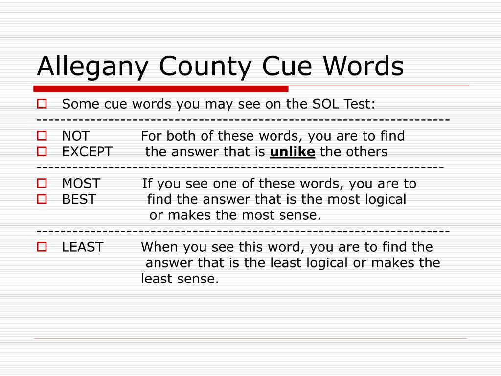 Allegany County Cue Words