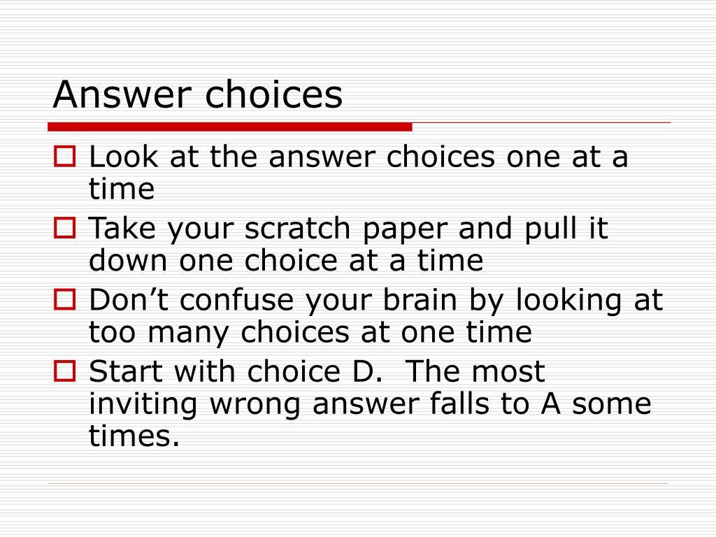 Answer choices