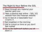 the night hour before the sol