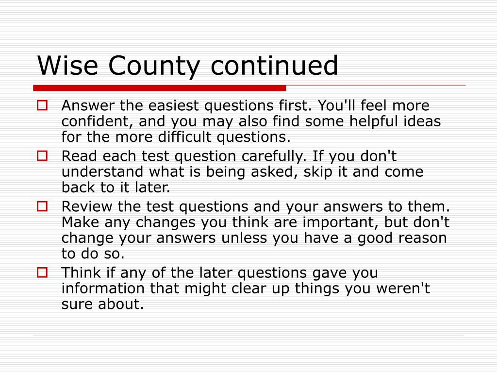 Wise County continued