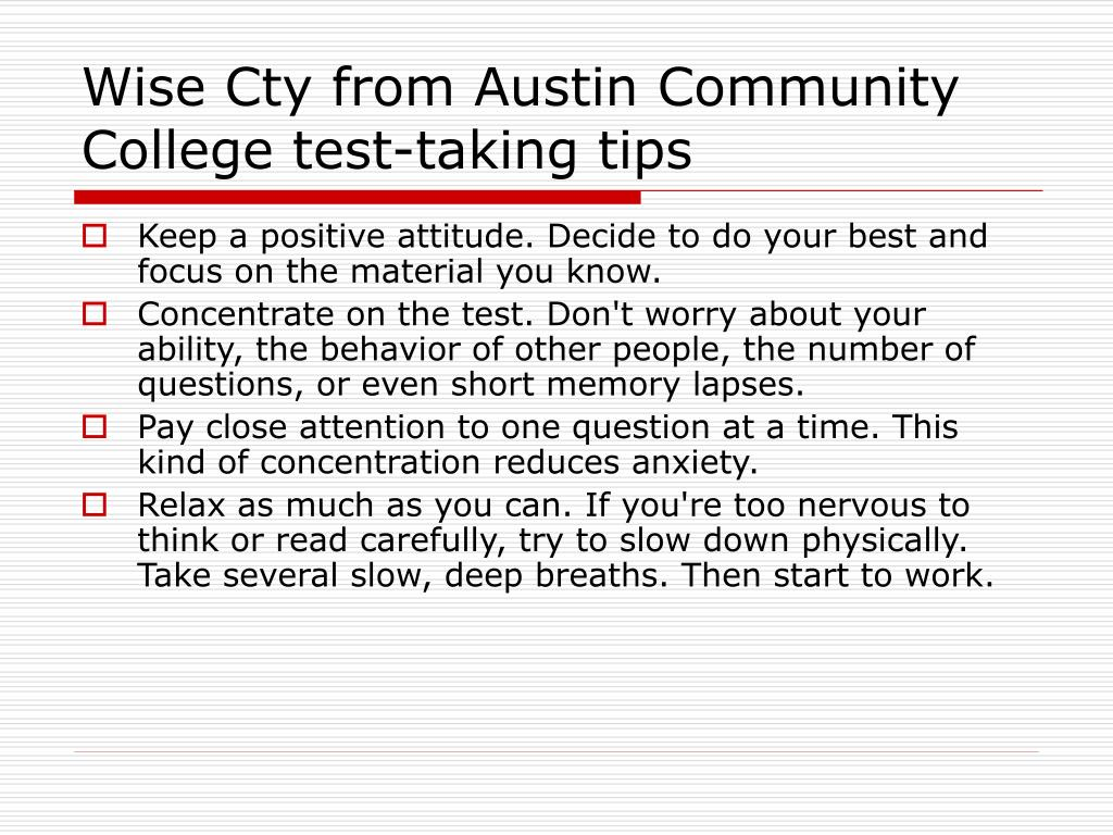 Wise Cty from Austin Community College test-taking tips