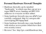 personal hardware firewall thoughts