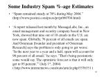 some industry spam age estimates