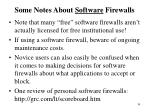 some notes about software firewalls