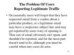 the problem of users reporting legitimate traffic