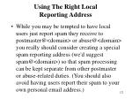 using the right local reporting address