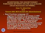 advertising for discretionary purchases between 50 000 and 100 000 small businesses and mwbe22
