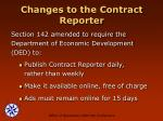 changes to the contract reporter