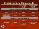 discretionary thresholds