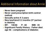 additional information about annie