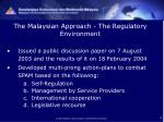 the malaysian approach the regulatory environment