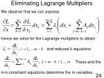 eliminating lagrange multipliers