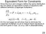 equivalent form for constraints