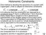holonomic constraints