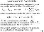 nonholonomic constraints