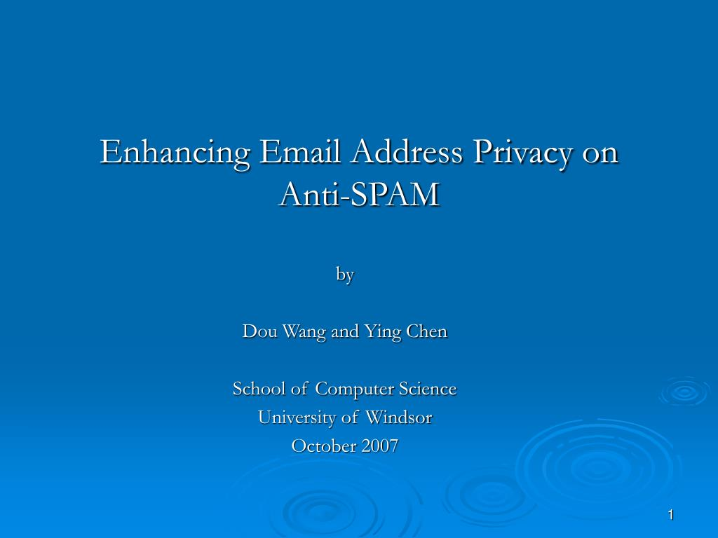 enhancing email address privacy on anti spam l.