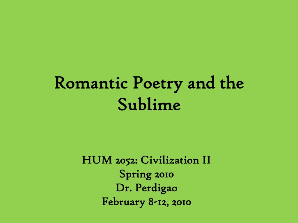 romantic poetry and the sublime l.