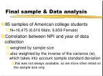 final sample data analysis