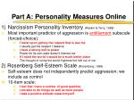 part a personality measures online