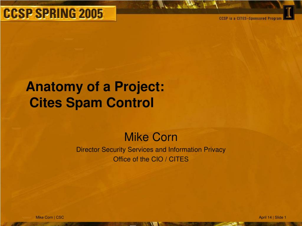 anatomy of a project cites spam control l.
