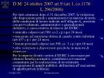 d m 24 ottobre 2007 art 9 art 1 co 1176 l 296 2006
