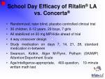 school day efficacy of ritalin la vs concerta