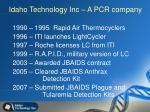 idaho technology inc a pcr company
