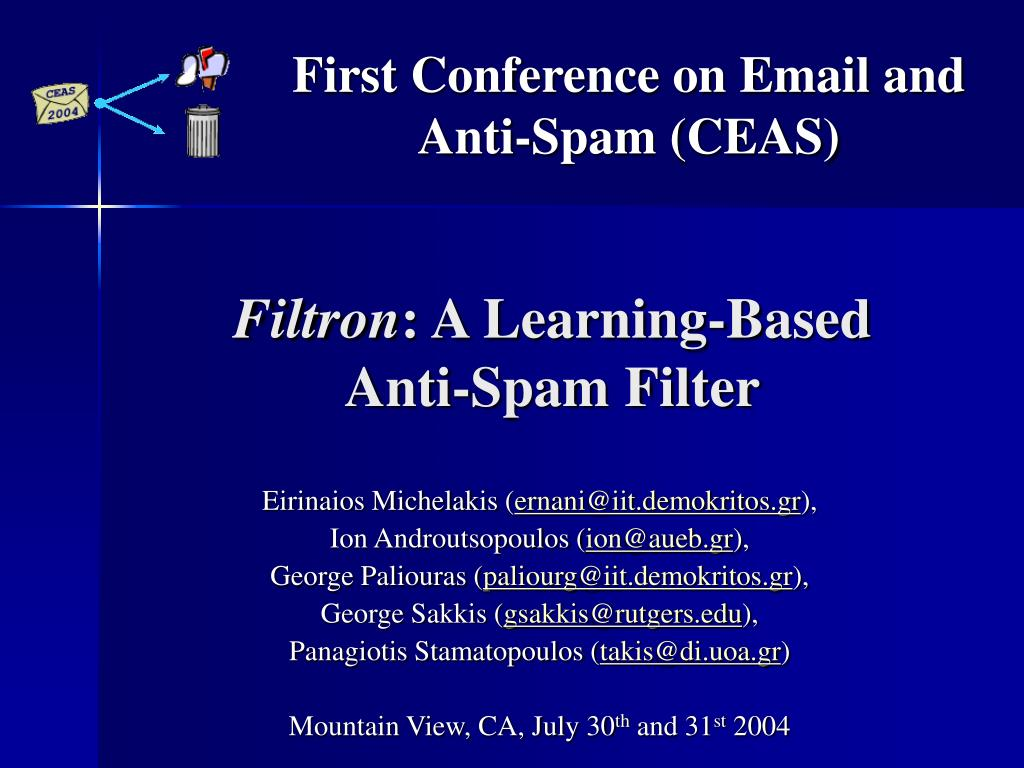 filtron a learning based anti spam filter l.