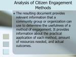 analysis of citizen engagement methods