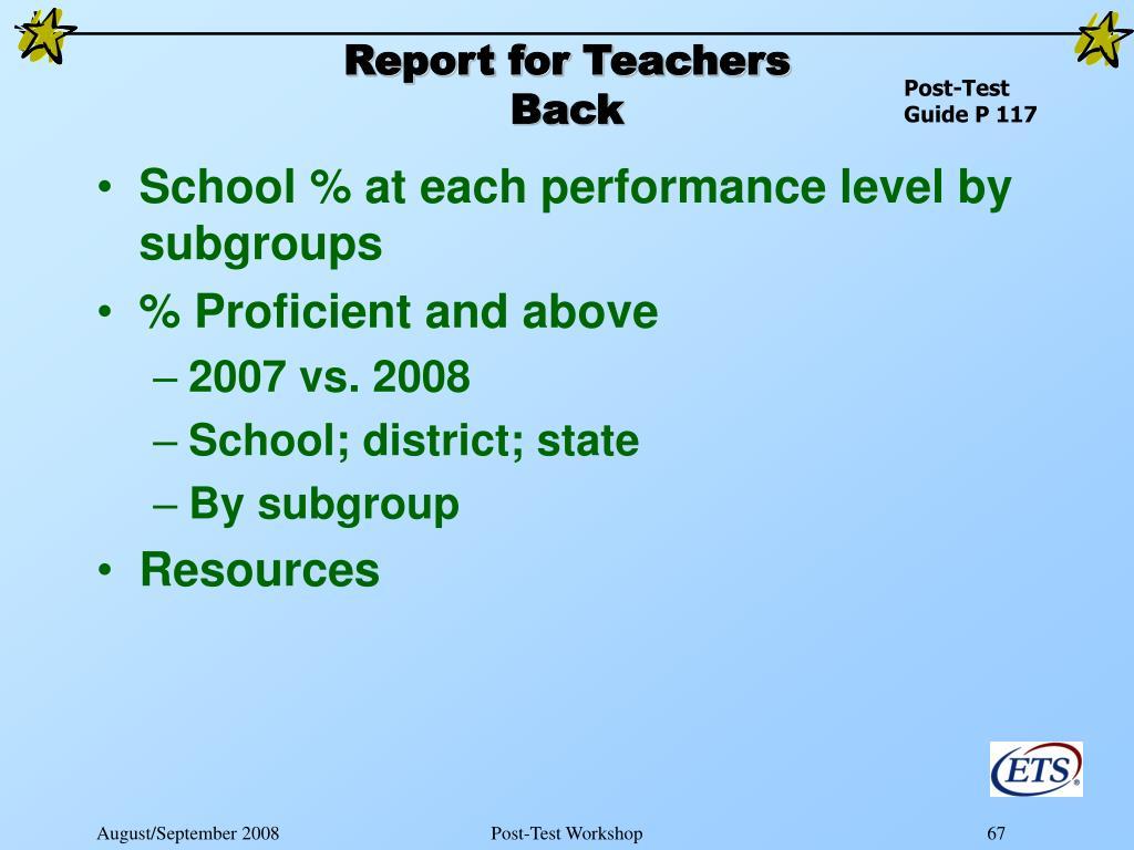 Report for Teachers