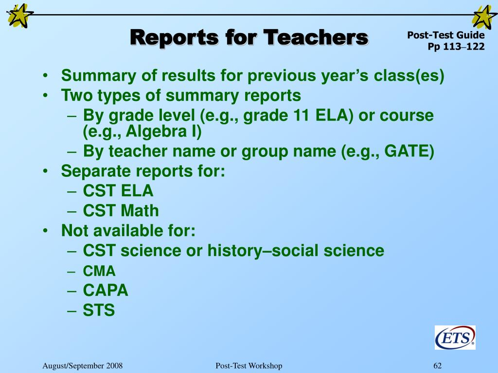 Reports for Teachers
