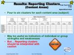 results reporting clusters content areas