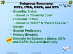 subgroup summary csts cma capa and sts