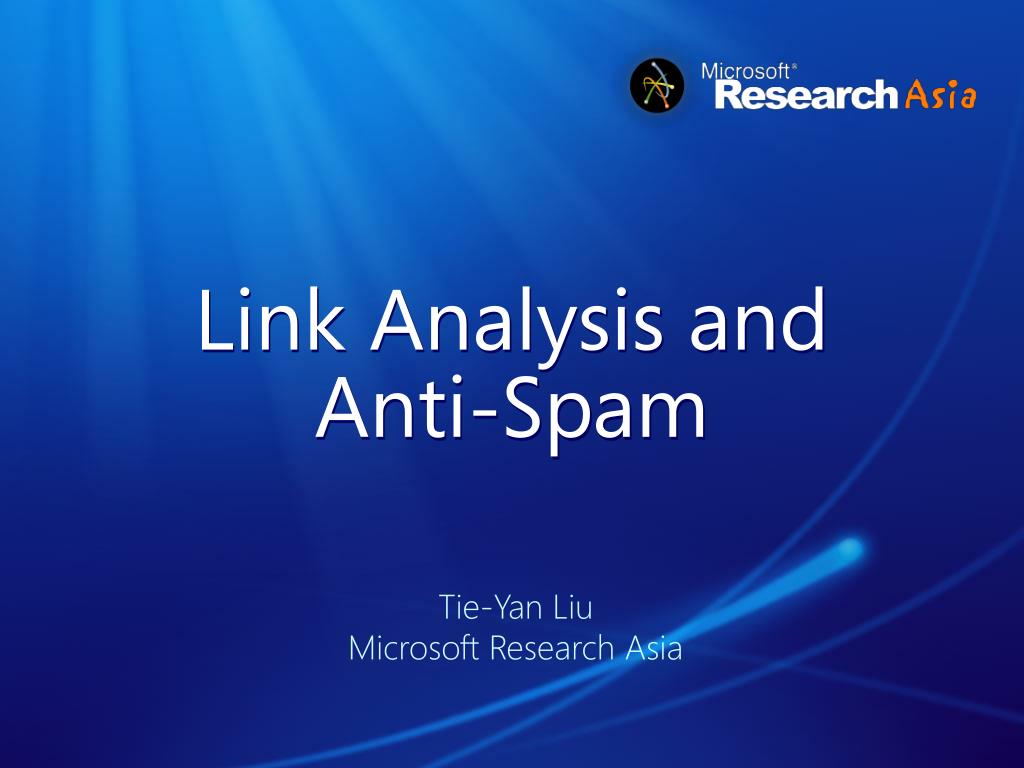 link analysis and anti spam l.