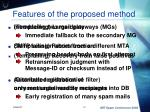 features of the proposed method