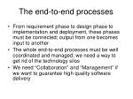 the end to end processes